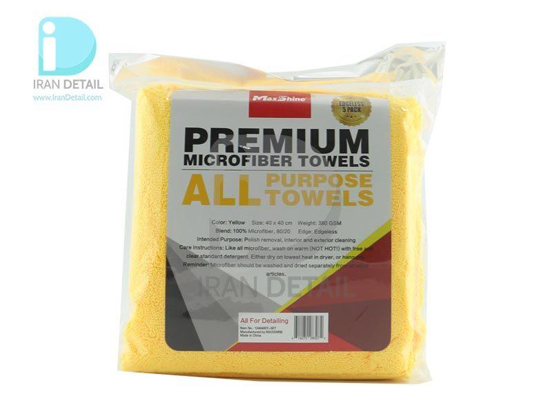 حوله مایکروفایبر چند منظوره 5 عددی 380 گرم 40*40 مکس شاین MaxShine Premium Microfiber Towel All Purpose 1240405Y
