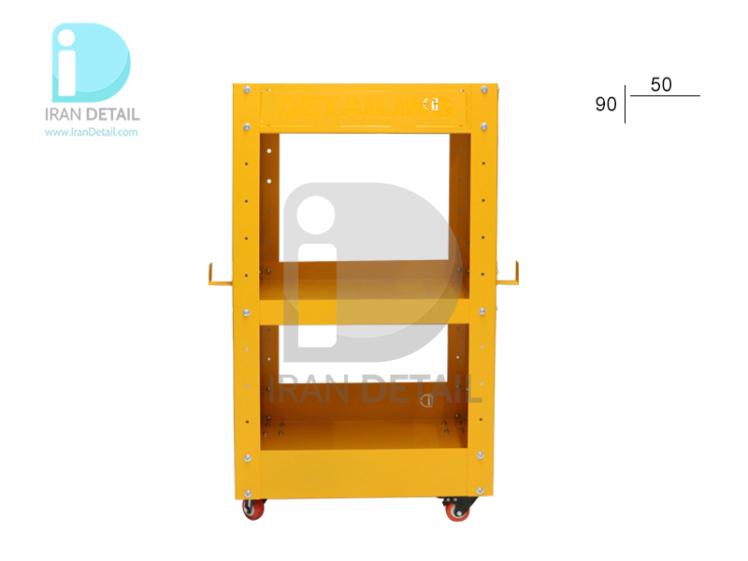 میز ترولی سه طبقه زرد مخصوص مراکز دیتیلینگ طرح Detailing Trolley 2075 Yellow
