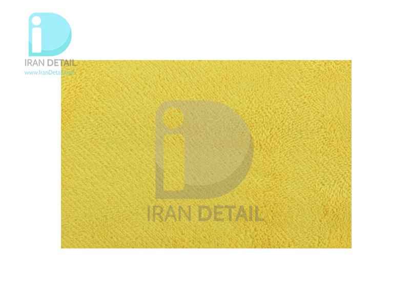 دستمال مایکروفایبر نرم زرد دو رو 40*40 لیزر برش