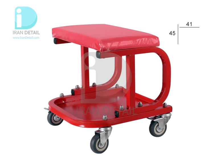 صندلی چرخدار تعمیرگاهی ساده قرمز