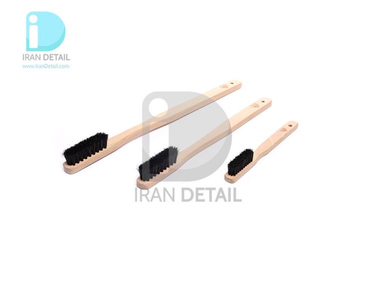 كيت سه عددی فرچه مسواكی مخصوص صفرشویی ماشين اس جی سی بی مدل SGCB Wood Brush S/M/L sggd018