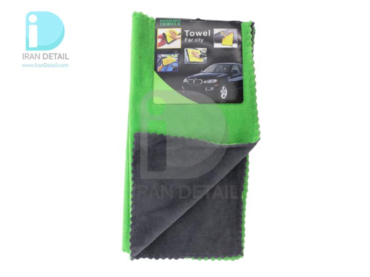 کیت دو عددی دستمال مایکروفایبر نرم سبز دو رو 40*40 لیزر برش مدل Microfiber Cloths Fine Laser Cut 2pcs
