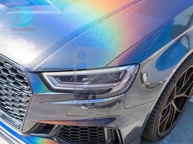 کاور محافظتی پی وی سی مخصوص خودرو رول 25 متری هکزیس مدل Hexis SkinTac HX30RW889B Black Rainbow Metallic Gloss