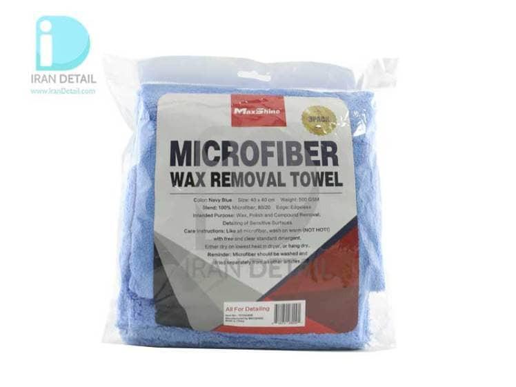 حوله مایکروفایبر 3 عددی 500 گرم 4040 مکس شاین MaxShine Microfiber Wax Removal Towel