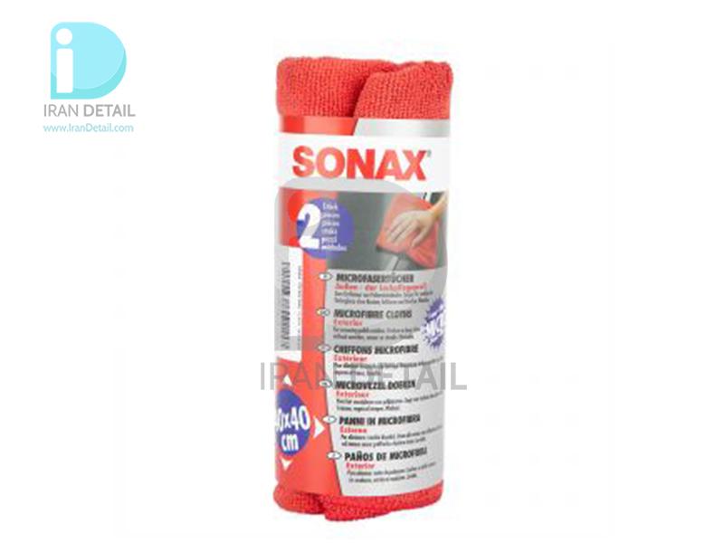 حوله تمیزکننده بدنه خودرو مایکروفایبر دو عددی سوناکس SONAX MicroFiber Cloth Exterior---