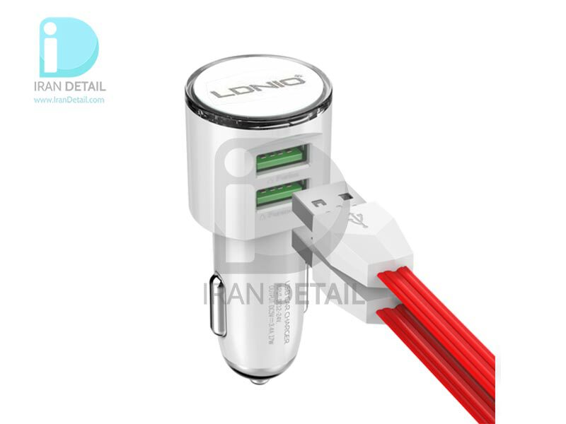 شارژر فندکی دو پورت شارژ سریع به همراه کابل یو اس بی مینی LDNIO Car Charger Dual USB Port