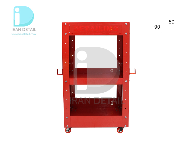 میز ترولی سه طبقه قرمز مخصوص مراکز دیتیلینگ طرح Detailing Trolley 2076 Red